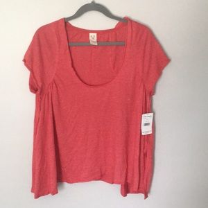 We The Free red scoop neck top Size M NWT